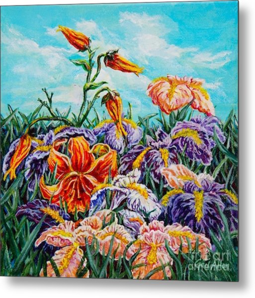 Iris With Daylily Metal Print