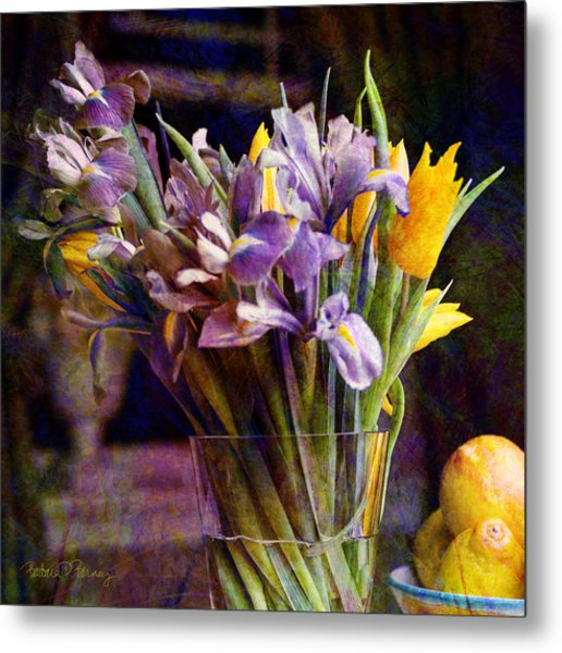 Irises In A Glass Metal Print