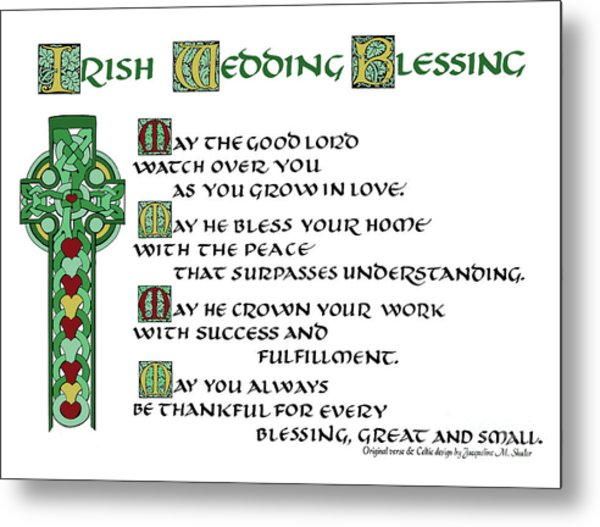 Irish Celtic Wedding Blessing Metal Print