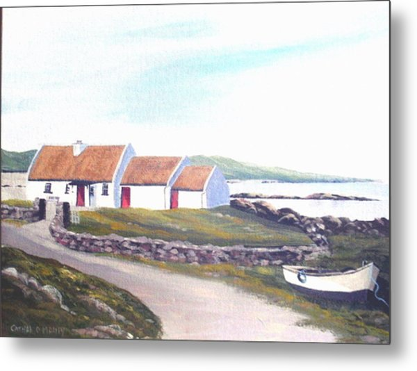 Irish Thatched Cottage Metal Print by Cathal O malley