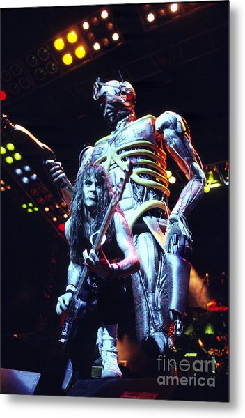 Iron Maiden 1987 Steve Harris And Eddie Metal Print by Chris Walter