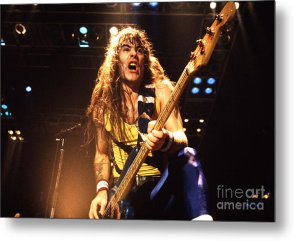 Iron Maiden 1987 Steve Harris Metal Print by Chris Walter