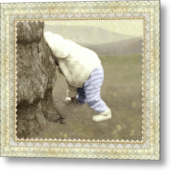 Is Bunny Behind Tree? Metal Print