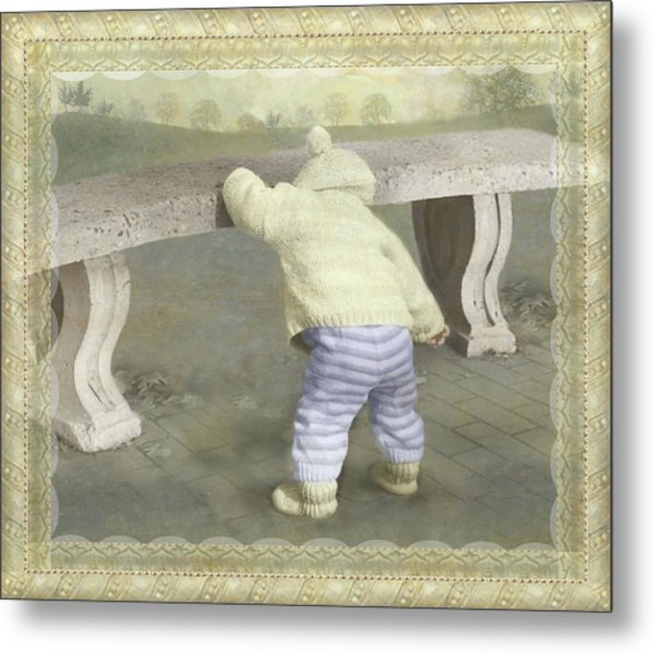 Is Bunny Under The Bench? Metal Print