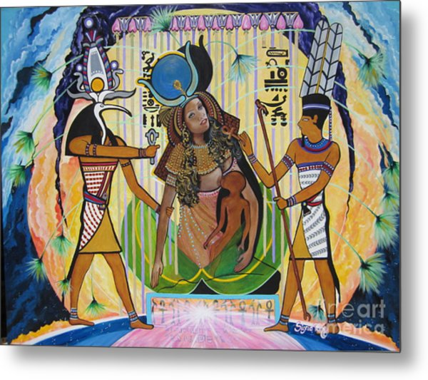 Blaa Kattproduksjoner     Presents Isis Giving Birth To Horus Metal Print