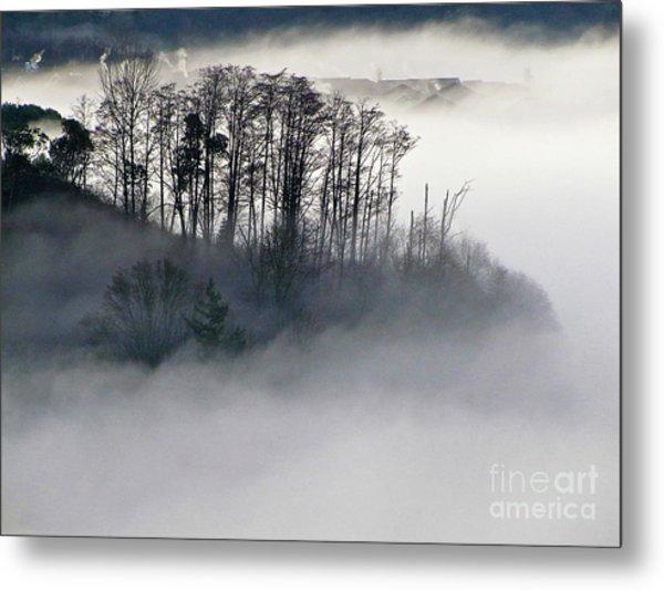 Island In The Morning Mist Metal Print