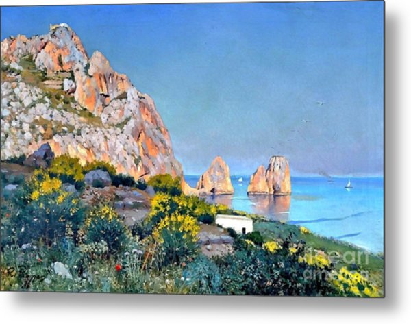 Metal Print featuring the painting Island Of Capri - Gulf Of Naples by Rosario Piazza