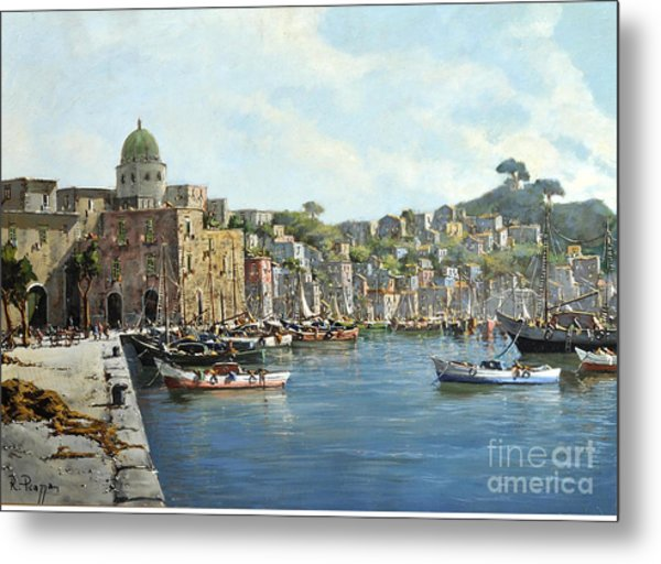Island Of Procida - Italy- Harbor With Boats Metal Print