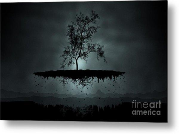 Island Tree Shadow Silhouette Metal Print