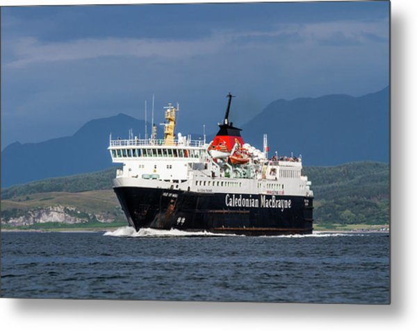 Isle Of Mull Ferry Crosses The Firth Of Lorne Metal Print