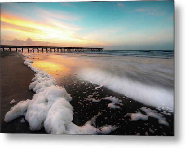 Isle Of Palms Pier Sunrise And Sea Foam Metal Print