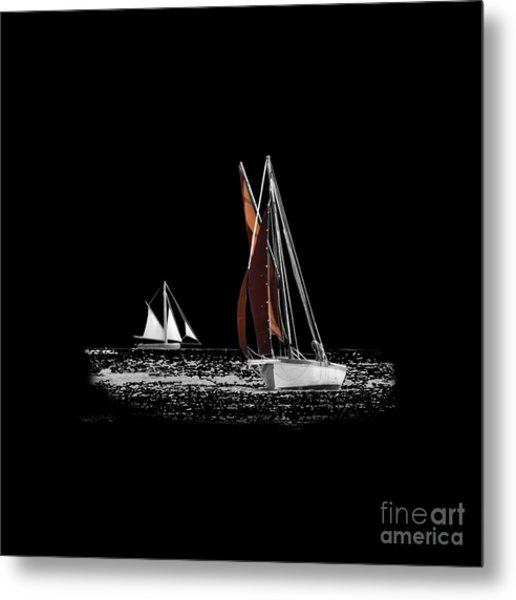 Isolated Yacht Carrick Roads On A Transparent Background Metal Print