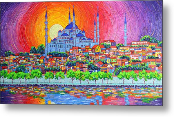 Istanbul Blue Mosque Sunset Modern Impressionist Palette Knife Oil Painting By Ana Maria Edulescu    Metal Print
