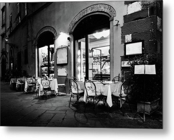 Italian Restaurant In Lucca, Italy Metal Print