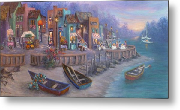 Italy Tuscan Decor Painting Seascape Village By The Sea Metal Print
