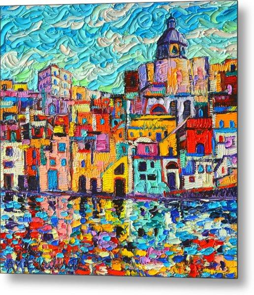 Italy Procida Island Marina Corricella Naples Bay Palette Knife Oil Painting By Ana Maria Edulescu Metal Print
