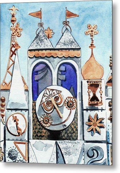 It's A Small World Clocktower Disneyworld Magic Kingdom Disneyland Disney Rides Metal Print