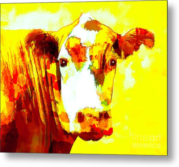Yellow Cow Metal Print