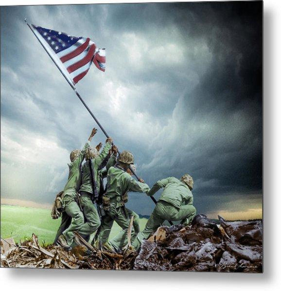 Iwo Jima 2nd Flag Raising Restored Metal Print by Brent Shavnore