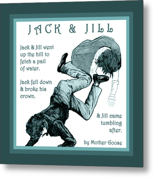 Jack And Jill Vintage Mother Goose Nursery Rhyme Metal Print