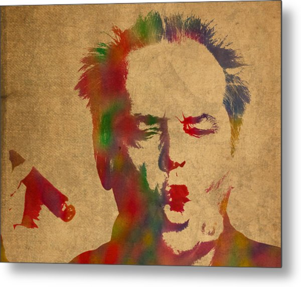 Jack Nicholson Smoking A Cigar Blowing Smoke Ring Watercolor Portrait On Old Canvas Metal Print