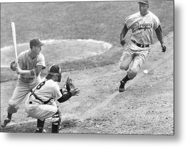 Jackie Robinson Stealing Home Yogi Berra Catcher In 1st Game 1955 World Series Metal Print