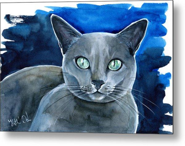 Jackpot - Russian Blue Cat Painting Metal Print