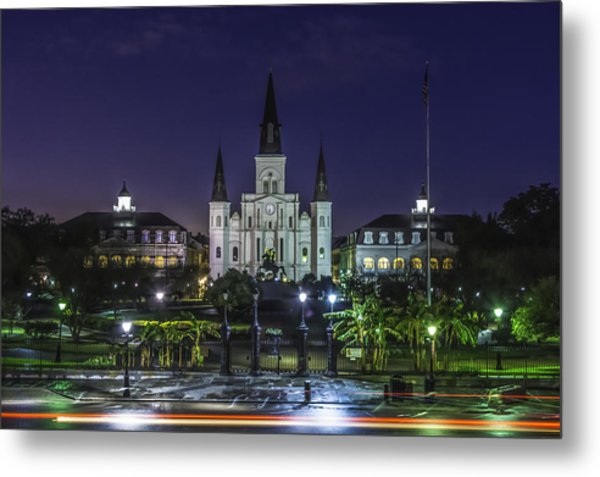 Jackson Square And St. Louis Cathedral At Dawn, New Orleans, Louisiana Metal Print