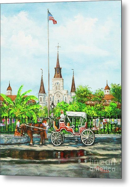 Jackson Square Carriage Metal Print