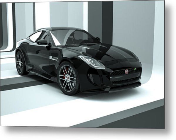 Jaguar F-type - Black Retro Metal Print