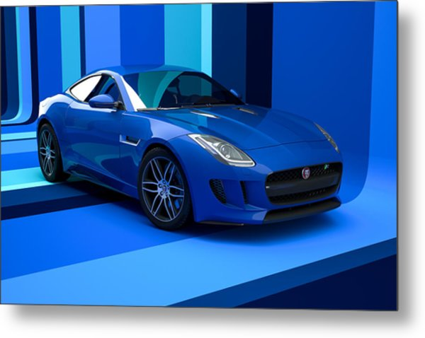 Jaguar F-type - Blue Retro Metal Print