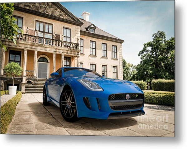 Jaguar F-type - Blue - Villa Metal Print