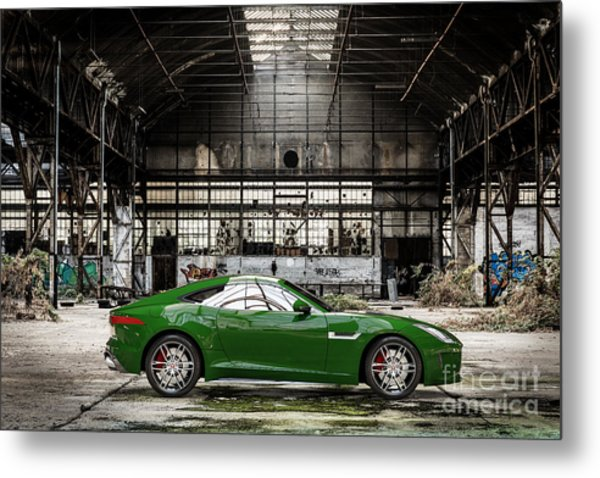 Jaguar F-type - British Racing Green - Side View Metal Print