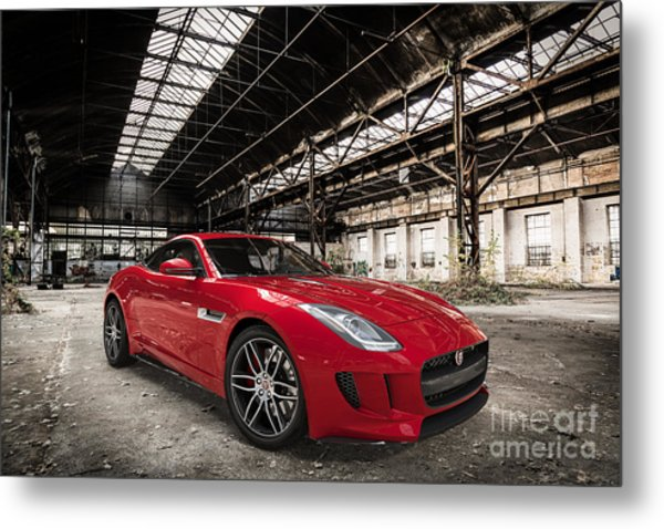 Jaguar F-type - Red - Front View Metal Print