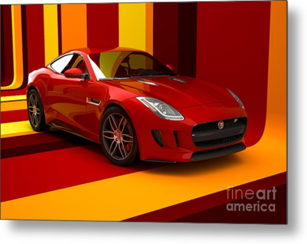 Jaguar F-type - Red Retro Metal Print