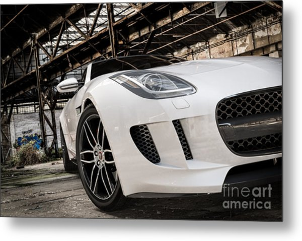 Jaguar F-type - White - Front Close-up Metal Print
