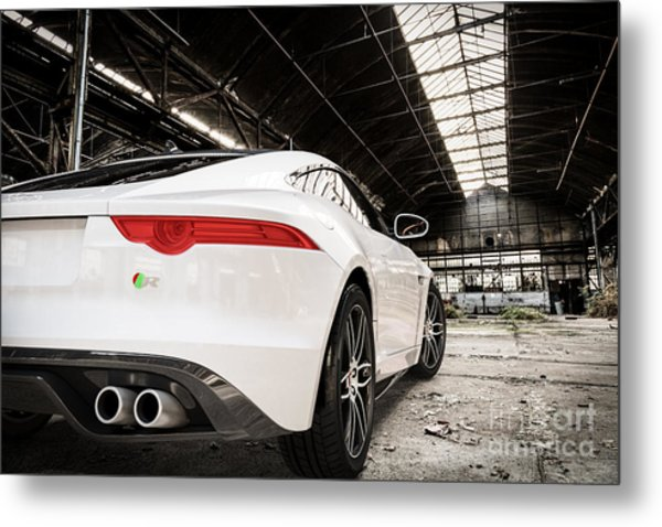 Jaguar F-type - White - Rear Close-up Metal Print