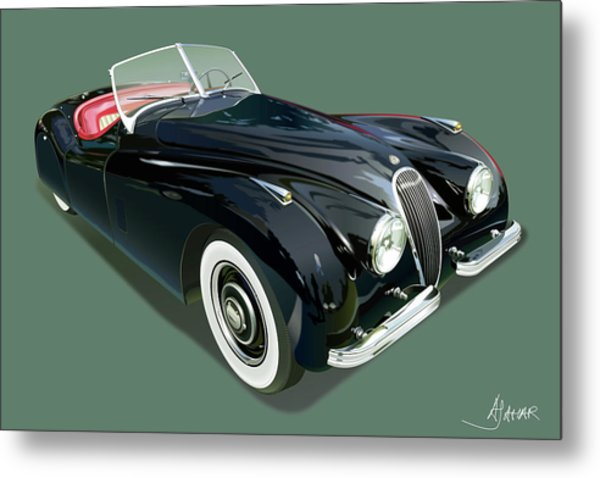 Jaguar Xk 120 Illustration Metal Print