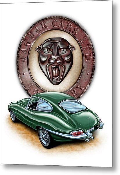 Jaguar Xke British Racing Green Metal Print by David Kyte