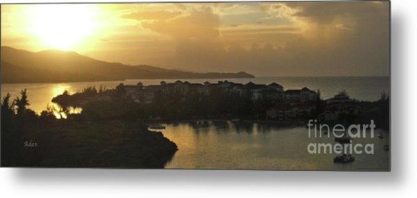 Jamaica Sunset Bay Panorama Metal Print