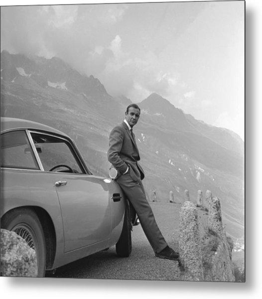 James Bond And His Aston Martin Metal Print