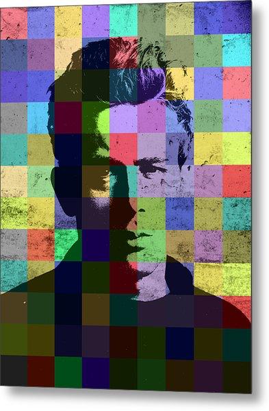James Dean Actor Hollywood Pop Art Patchwork Portrait Pop Of Color Metal Print