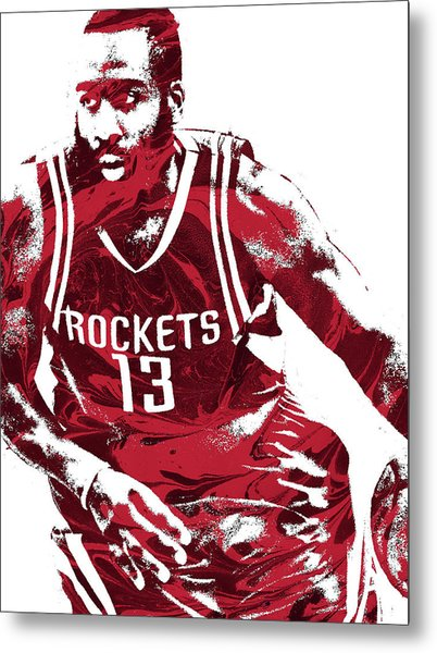 James Harden Houston Rockets Pixel Art 3 Metal Print