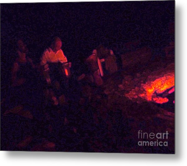 Jamming By The Fire Metal Print by JoAnn SkyWatcher
