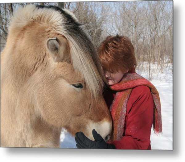 January Fjord And Friend Metal Print by Laurie With
