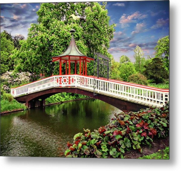 Japanese Bridge Garden Metal Print