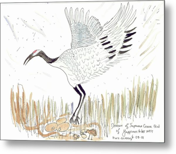 Japanese Crane And Her Nest Metal Print