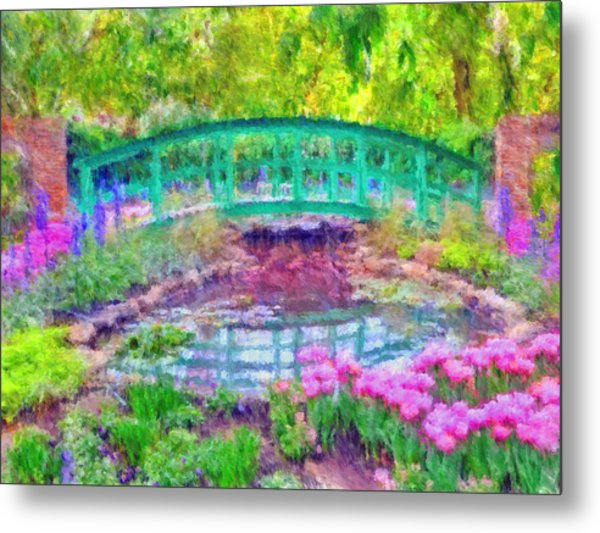 Metal Print featuring the digital art Japanese Footbridge At Phipps Conservatory 2 by Digital Photographic Arts