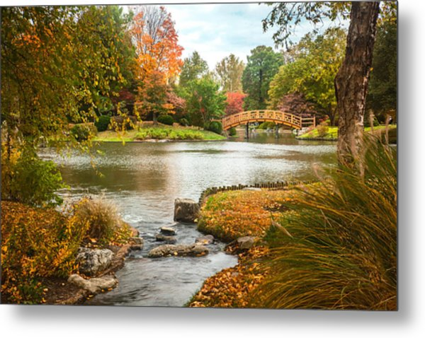 Metal Print featuring the photograph Japanese Garden Bridge Fall by David Coblitz