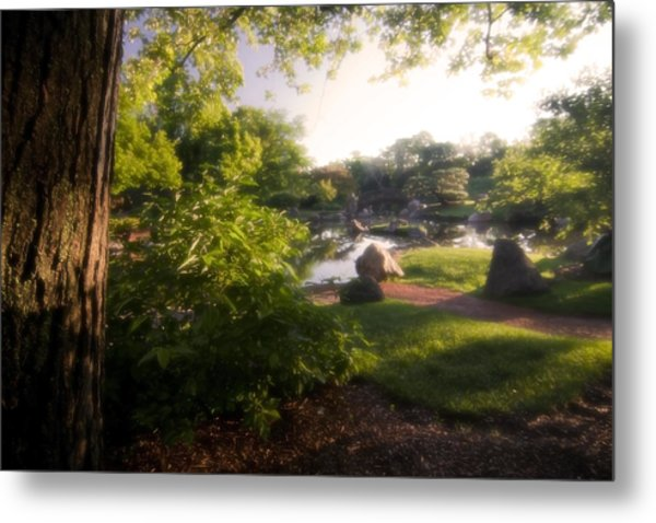 Japanese Garden In The Morning Metal Print